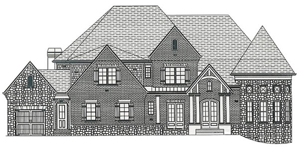 Coffered ceiling and stone fireplace vaulted keeping room with - Bella Vista Homes The Harborstone
